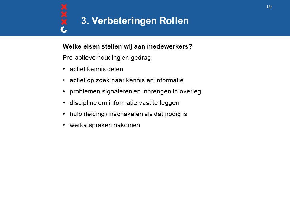 3. Verbeteringen Rollen Welke eisen stellen wij aan medewerkers.
