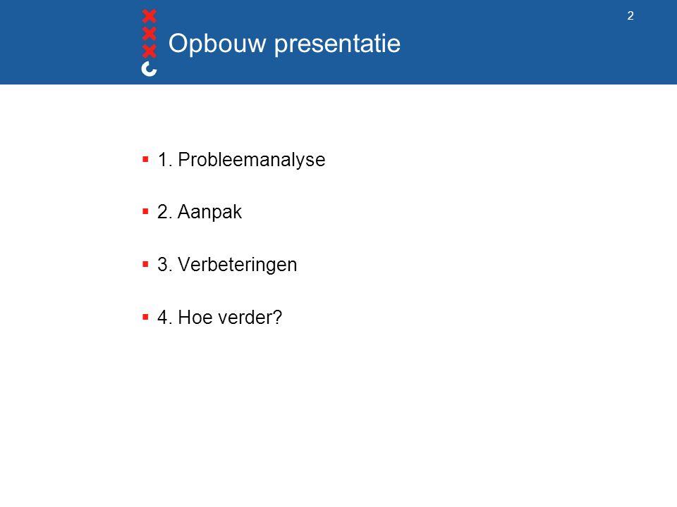 Opbouw presentatie  1. Probleemanalyse  2. Aanpak  3. Verbeteringen  4. Hoe verder 2