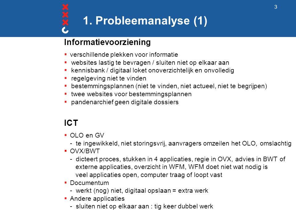 1. Probleemanalyse (1) Informatievoorziening  verschillende plekken voor informatie  websites lastig te bevragen / sluiten niet op elkaar aan  kenn