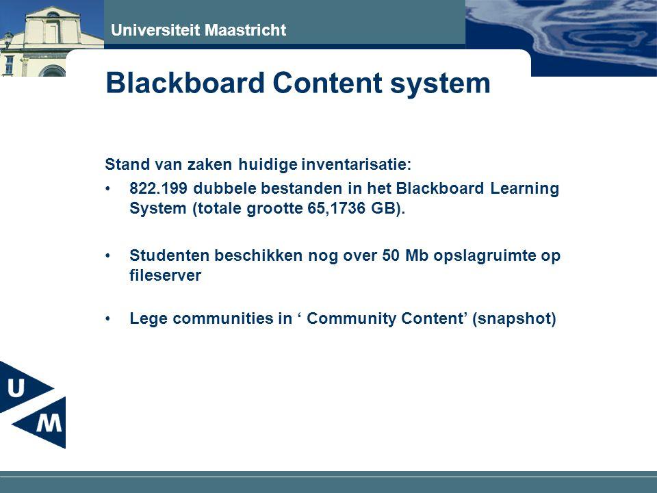 Universiteit Maastricht Blackboard Content system Stand van zaken huidige inventarisatie: 822.199 dubbele bestanden in het Blackboard Learning System (totale grootte 65,1736 GB).