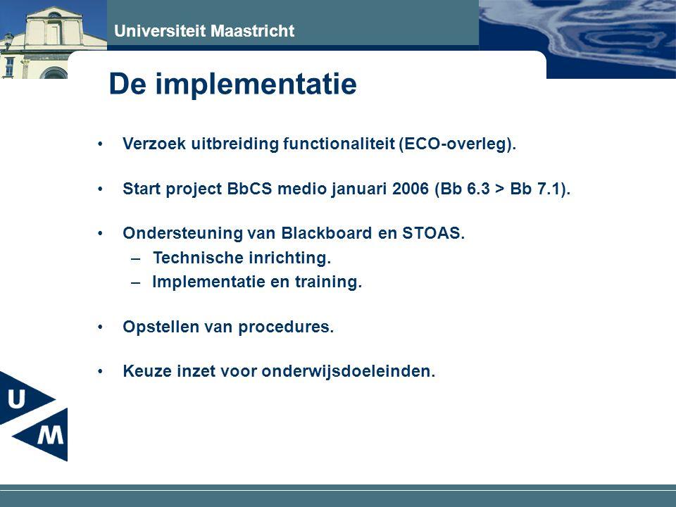 Universiteit Maastricht De inrichting Duidelijke keuze welke onderdelen wel of niet beschikbaar stellen (Course Content, Library Content).