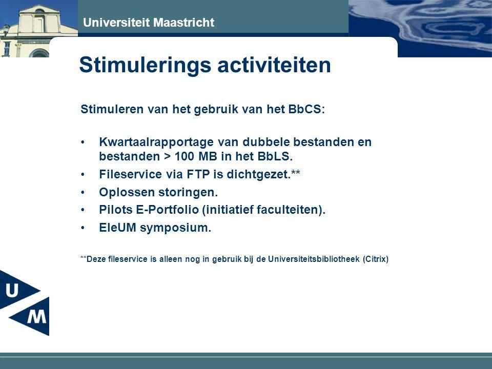 Universiteit Maastricht Stimuleren van het gebruik van het BbCS: Kwartaalrapportage van dubbele bestanden en bestanden > 100 MB in het BbLS.