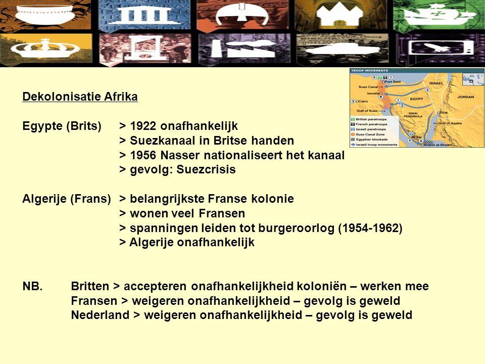 Dekolonisatie Afrika Egypte (Brits)> 1922 onafhankelijk > Suezkanaal in Britse handen > 1956 Nasser nationaliseert het kanaal > gevolg: Suezcrisis Algerije (Frans)> belangrijkste Franse kolonie > wonen veel Fransen > spanningen leiden tot burgeroorlog (1954-1962) > Algerije onafhankelijk NB.Britten > accepteren onafhankelijkheid koloniën – werken mee Fransen > weigeren onafhankelijkheid – gevolg is geweld Nederland > weigeren onafhankelijkheid – gevolg is geweld