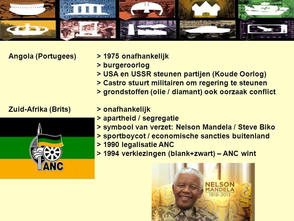Angola (Portugees)> 1975 onafhankelijk > burgeroorlog > USA en USSR steunen partijen (Koude Oorlog) > Castro stuurt militairen om regering te steunen > grondstoffen (olie / diamant) ook oorzaak conflict Zuid-Afrika (Brits)> onafhankelijk > apartheid / segregatie > symbool van verzet: Nelson Mandela / Steve Biko > sportboycot / economische sancties buitenland > 1990 legalisatie ANC > 1994 verkiezingen (blank+zwart) – ANC wint