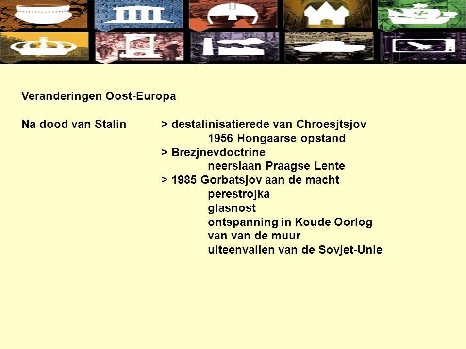 Veranderingen Oost-Europa Na dood van Stalin> destalinisatierede van Chroesjtsjov 1956 Hongaarse opstand > Brezjnevdoctrine neerslaan Praagse Lente > 1985 Gorbatsjov aan de macht perestrojka glasnost ontspanning in Koude Oorlog van van de muur uiteenvallen van de Sovjet-Unie