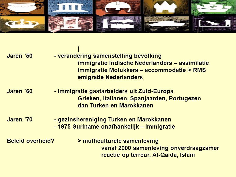 | Jaren '50- verandering samenstelling bevolking immigratie Indische Nederlanders – assimilatie immigratie Molukkers – accommodatie > RMS emigratie Nederlanders Jaren '60- immigratie gastarbeiders uit Zuid-Europa Grieken, Italianen, Spanjaarden, Portugezen dan Turken en Marokkanen Jaren '70- gezinshereniging Turken en Marokkanen - 1975 Suriname onafhankelijk – immigratie Beleid overheid?> multiculturele samenleving vanaf 2000 samenleving onverdraagzamer reactie op terreur, Al-Qaida, Islam