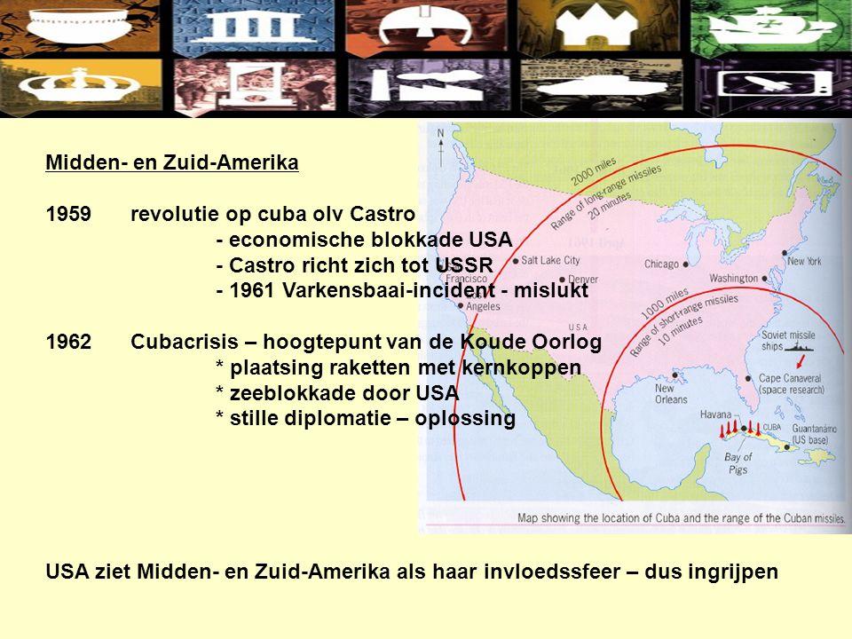 Midden- en Zuid-Amerika 1959revolutie op cuba olv Castro - economische blokkade USA - Castro richt zich tot USSR - 1961 Varkensbaai-incident - mislukt 1962Cubacrisis – hoogtepunt van de Koude Oorlog * plaatsing raketten met kernkoppen * zeeblokkade door USA * stille diplomatie – oplossing USA ziet Midden- en Zuid-Amerika als haar invloedssfeer – dus ingrijpen