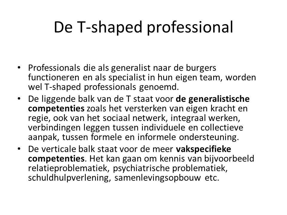 De T-shaped professional Professionals die als generalist naar de burgers functioneren en als specialist in hun eigen team, worden wel T-shaped professionals genoemd.