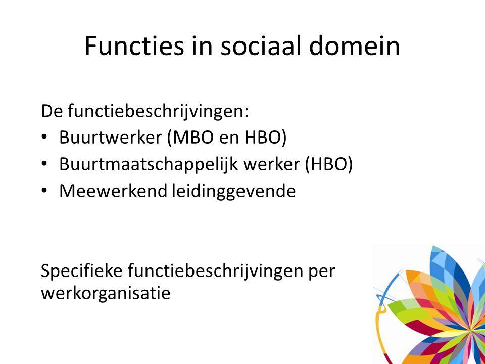 Functies in sociaal domein De functiebeschrijvingen: Buurtwerker (MBO en HBO) Buurtmaatschappelijk werker (HBO) Meewerkend leidinggevende Specifieke functiebeschrijvingen per werkorganisatie