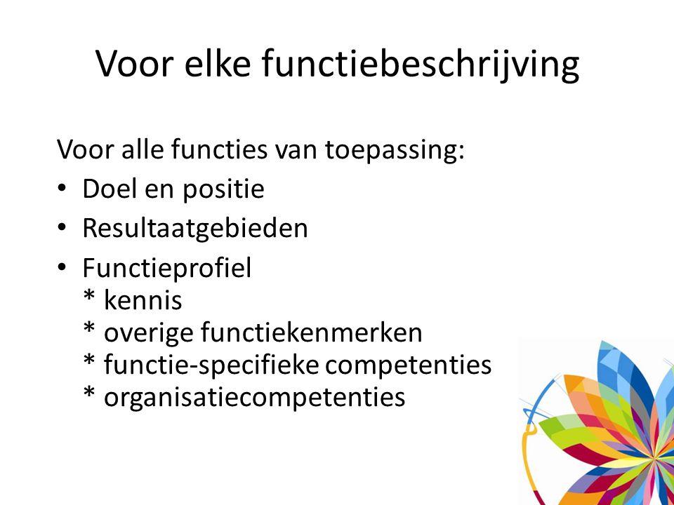 Voor elke functiebeschrijving Voor alle functies van toepassing: Doel en positie Resultaatgebieden Functieprofiel * kennis * overige functiekenmerken * functie-specifieke competenties * organisatiecompetenties