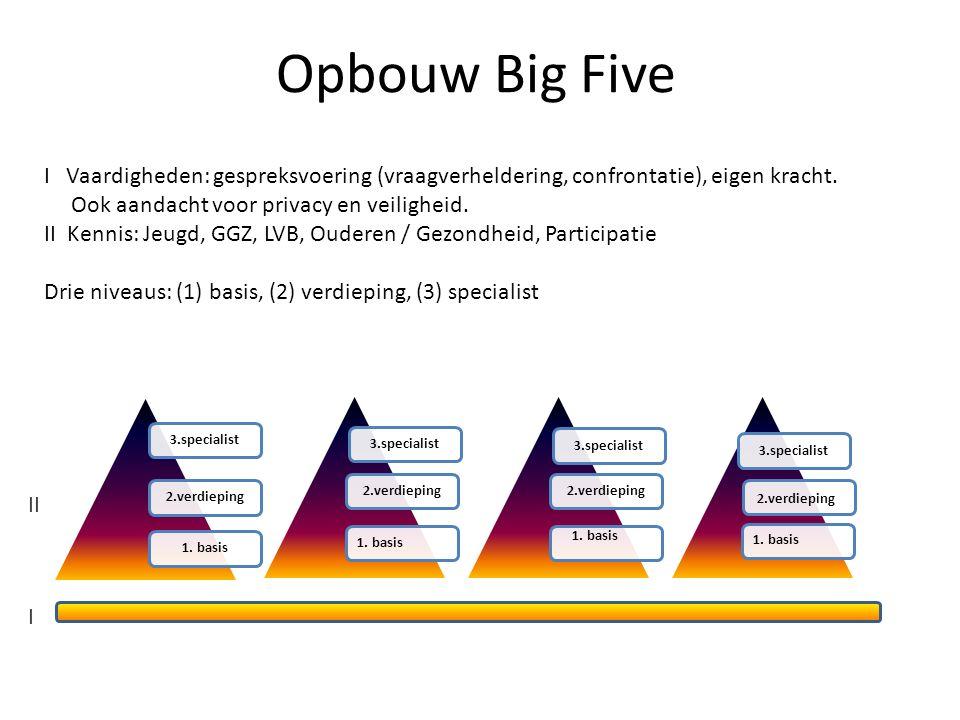 Opbouw Big Five II I I Vaardigheden: gespreksvoering (vraagverheldering, confrontatie), eigen kracht.