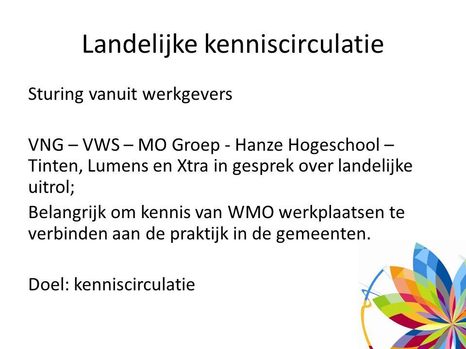 Landelijke kenniscirculatie Sturing vanuit werkgevers VNG – VWS – MO Groep - Hanze Hogeschool – Tinten, Lumens en Xtra in gesprek over landelijke uitrol; Belangrijk om kennis van WMO werkplaatsen te verbinden aan de praktijk in de gemeenten.