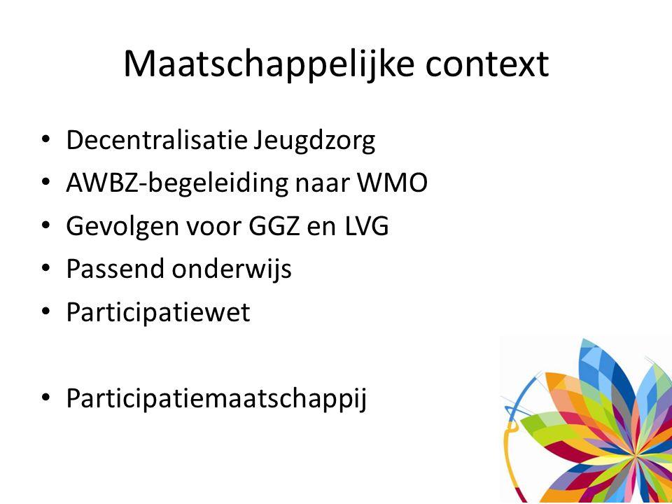 Maatschappelijke context Decentralisatie Jeugdzorg AWBZ-begeleiding naar WMO Gevolgen voor GGZ en LVG Passend onderwijs Participatiewet Participatiemaatschappij