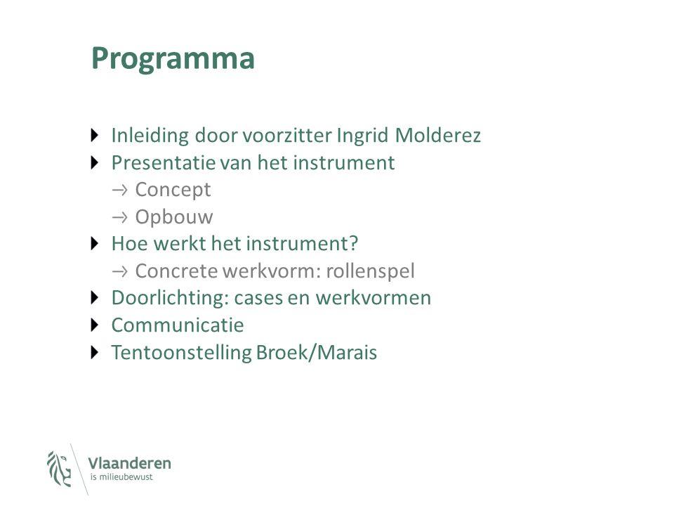 Programma Inleiding door voorzitter Ingrid Molderez Presentatie van het instrument Concept Opbouw Hoe werkt het instrument? Concrete werkvorm: rollens