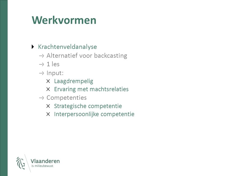 Werkvormen Krachtenveldanalyse Alternatief voor backcasting 1 les Input: Laagdrempelig Ervaring met machtsrelaties Competenties Strategische competentie Interpersoonlijke competentie