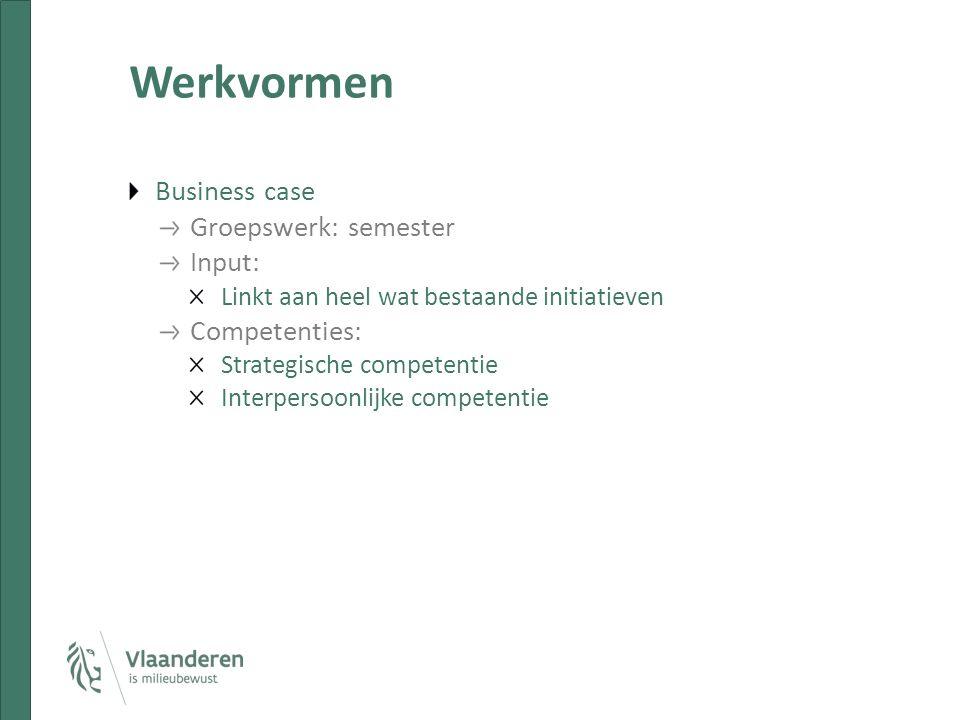 Werkvormen Business case Groepswerk: semester Input: Linkt aan heel wat bestaande initiatieven Competenties: Strategische competentie Interpersoonlijke competentie