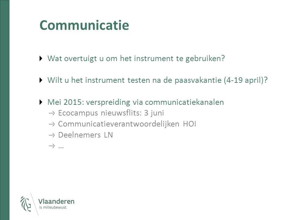 Communicatie Wat overtuigt u om het instrument te gebruiken? Wilt u het instrument testen na de paasvakantie (4-19 april)? Mei 2015: verspreiding via