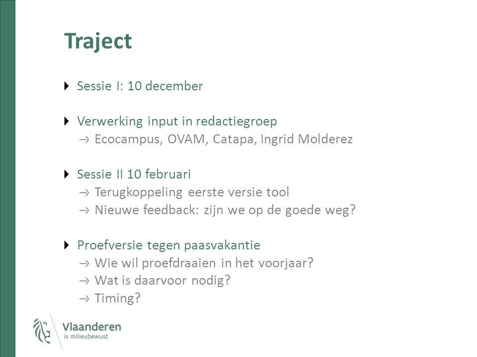 Traject Sessie I: 10 december Verwerking input in redactiegroep Ecocampus, OVAM, Catapa, Ingrid Molderez Sessie II 10 februari Terugkoppeling eerste versie tool Nieuwe feedback: zijn we op de goede weg.