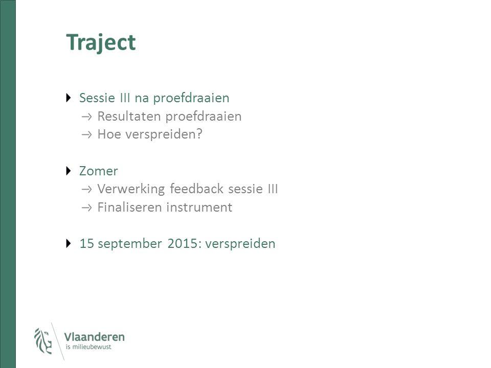 Traject Sessie III na proefdraaien Resultaten proefdraaien Hoe verspreiden? Zomer Verwerking feedback sessie III Finaliseren instrument 15 september 2