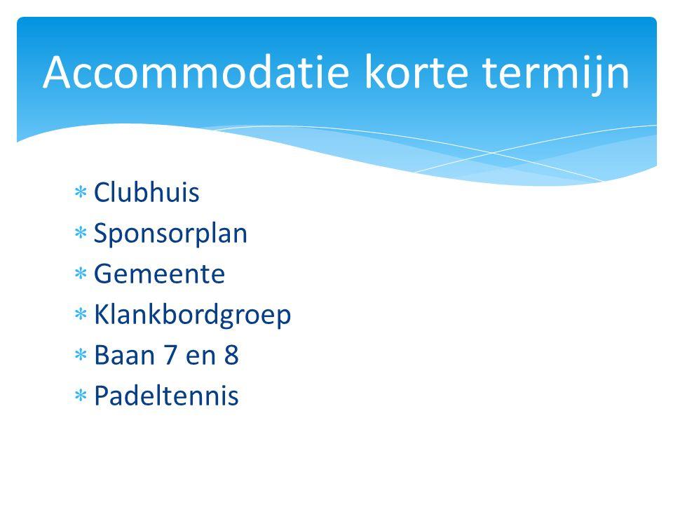  Clubhuis  Sponsorplan  Gemeente  Klankbordgroep  Baan 7 en 8  Padeltennis Accommodatie korte termijn