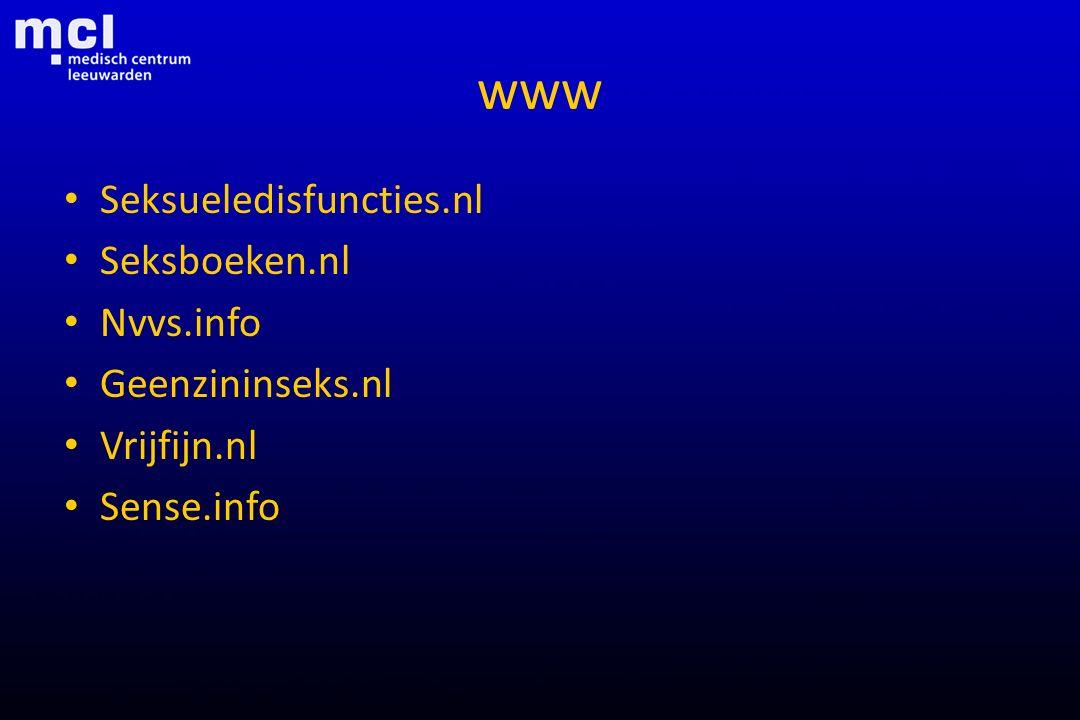 www Seksueledisfuncties.nl Seksboeken.nl Nvvs.info Geenzininseks.nl Vrijfijn.nl Sense.info
