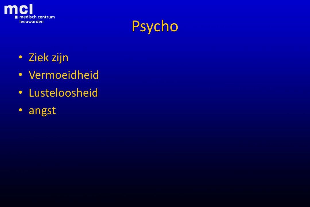Psycho Ziek zijn Vermoeidheid Lusteloosheid angst