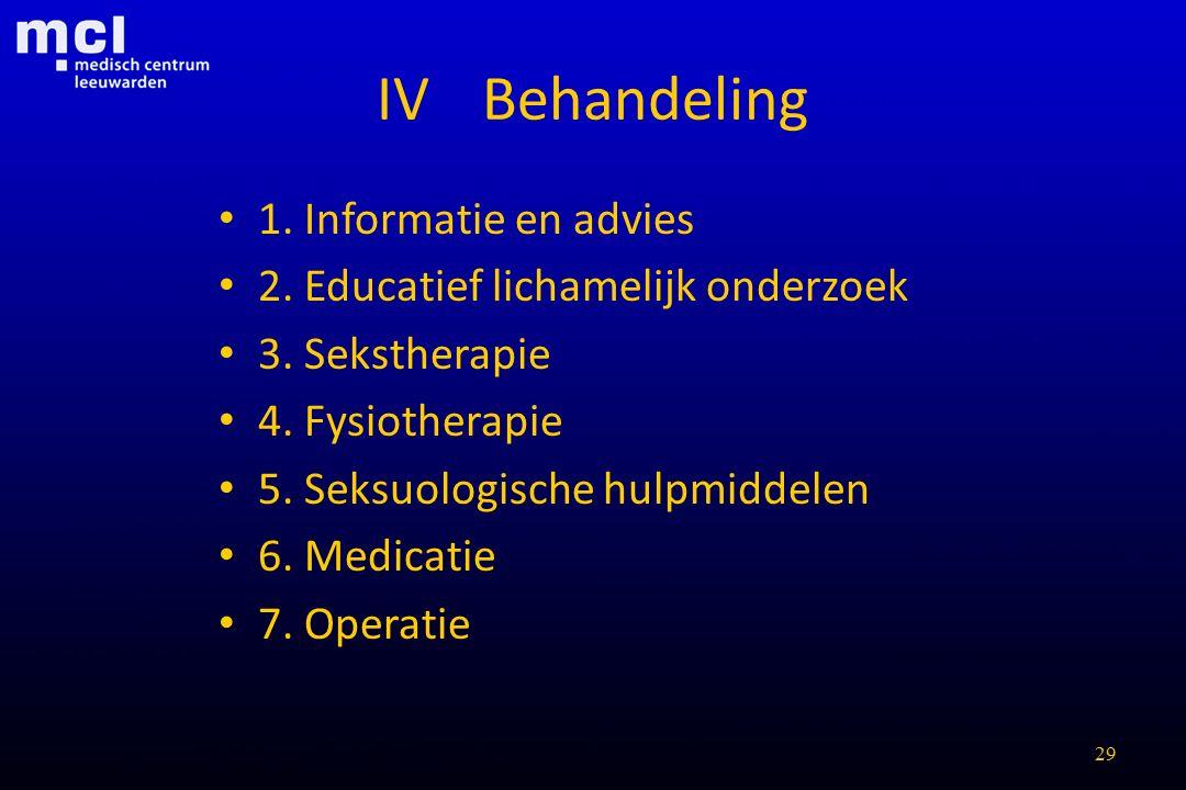 29 IVBehandeling 1. Informatie en advies 2. Educatief lichamelijk onderzoek 3. Sekstherapie 4. Fysiotherapie 5. Seksuologische hulpmiddelen 6. Medicat