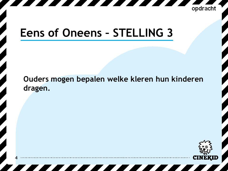 Eens of Oneens – STELLING 4 5 Ruimte kun je zelf veroveren.
