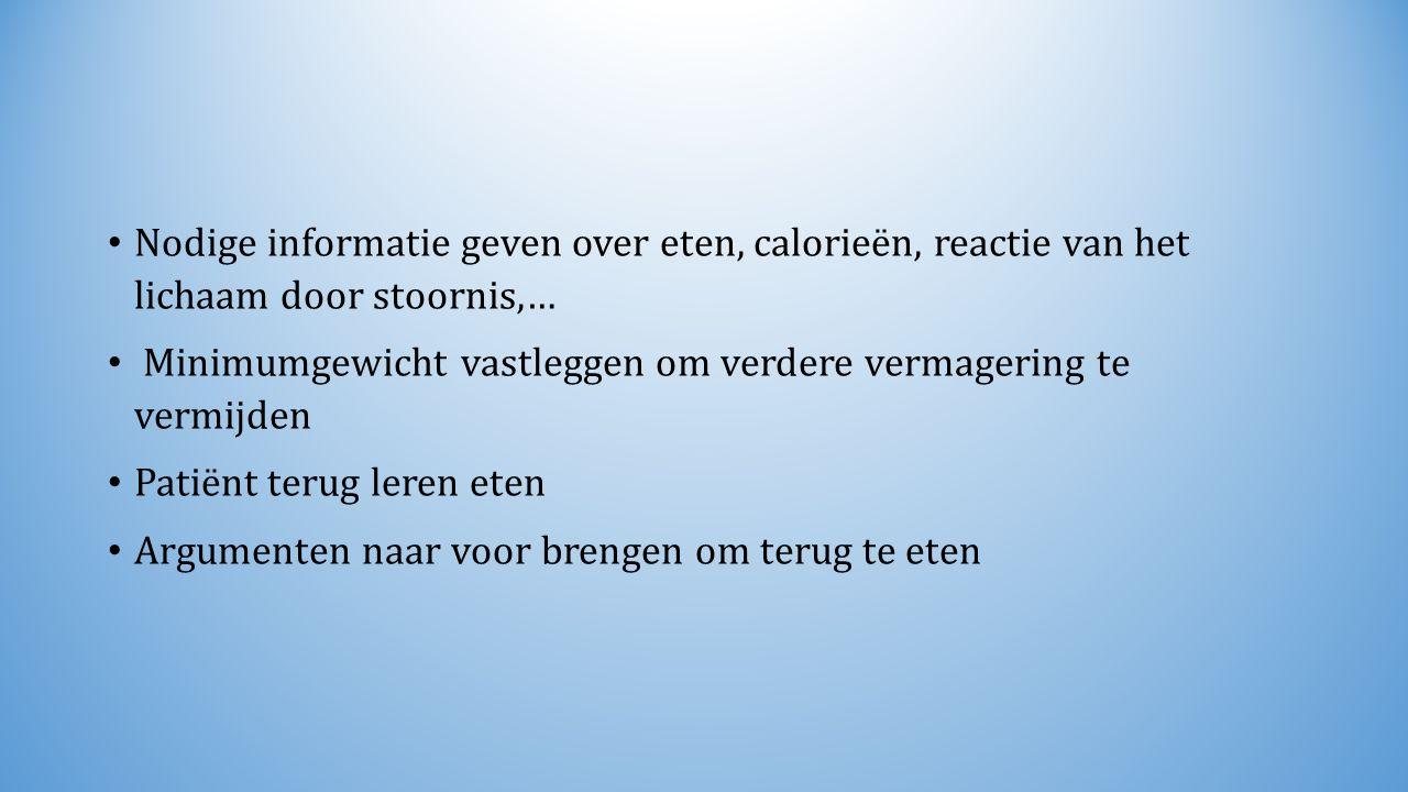 Nodige informatie geven over eten, calorieën, reactie van het lichaam door stoornis,… Minimumgewicht vastleggen om verdere vermagering te vermijden Pa