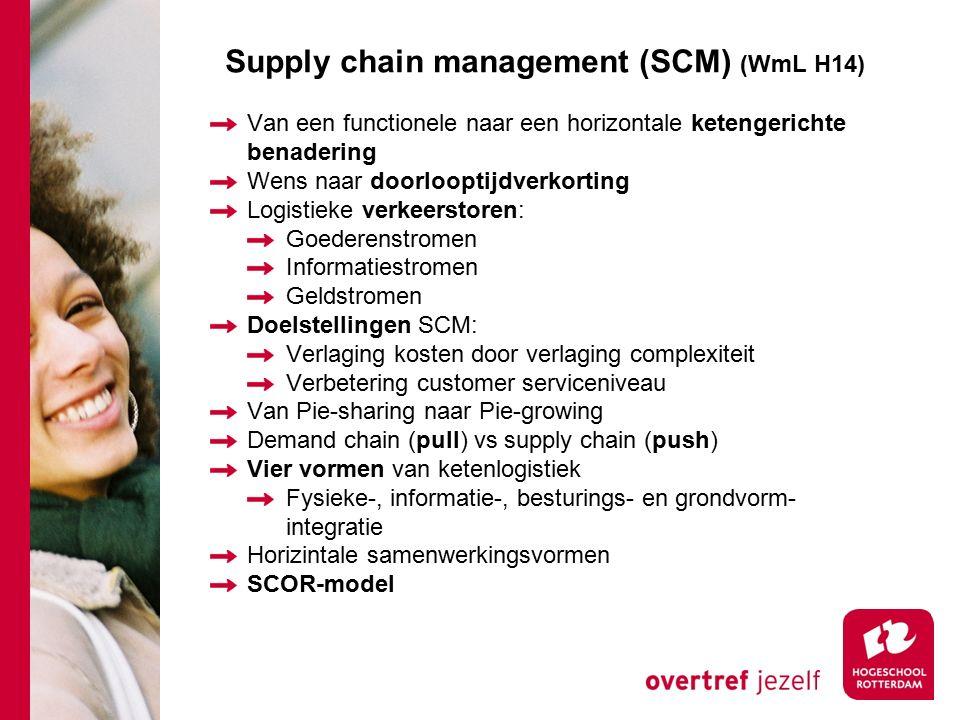 Supply chain management (SCM) (WmL H14) Van een functionele naar een horizontale ketengerichte benadering Wens naar doorlooptijdverkorting Logistieke