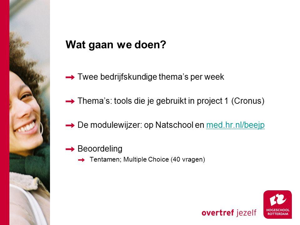 Wat gaan we doen? Twee bedrijfskundige thema's per week Thema's: tools die je gebruikt in project 1 (Cronus) De modulewijzer: op Natschool en med.hr.n