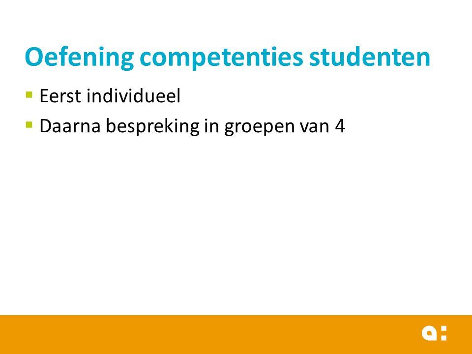  Eerst individueel  Daarna bespreking in groepen van 4 Oefening competenties studenten