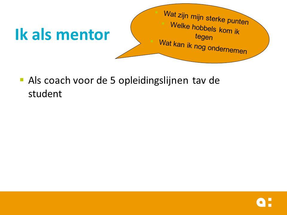 Ik als mentor  Wat zijn mijn sterke punten  Welke hobbels kom ik tegen  Wat kan ik nog ondernemen  Als coach voor de 5 opleidingslijnen tav de student