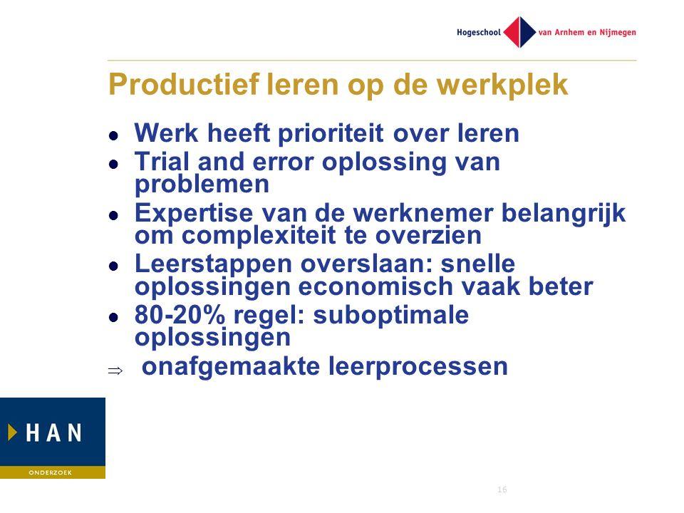 16 Productief leren op de werkplek Werk heeft prioriteit over leren Trial and error oplossing van problemen Expertise van de werknemer belangrijk om c