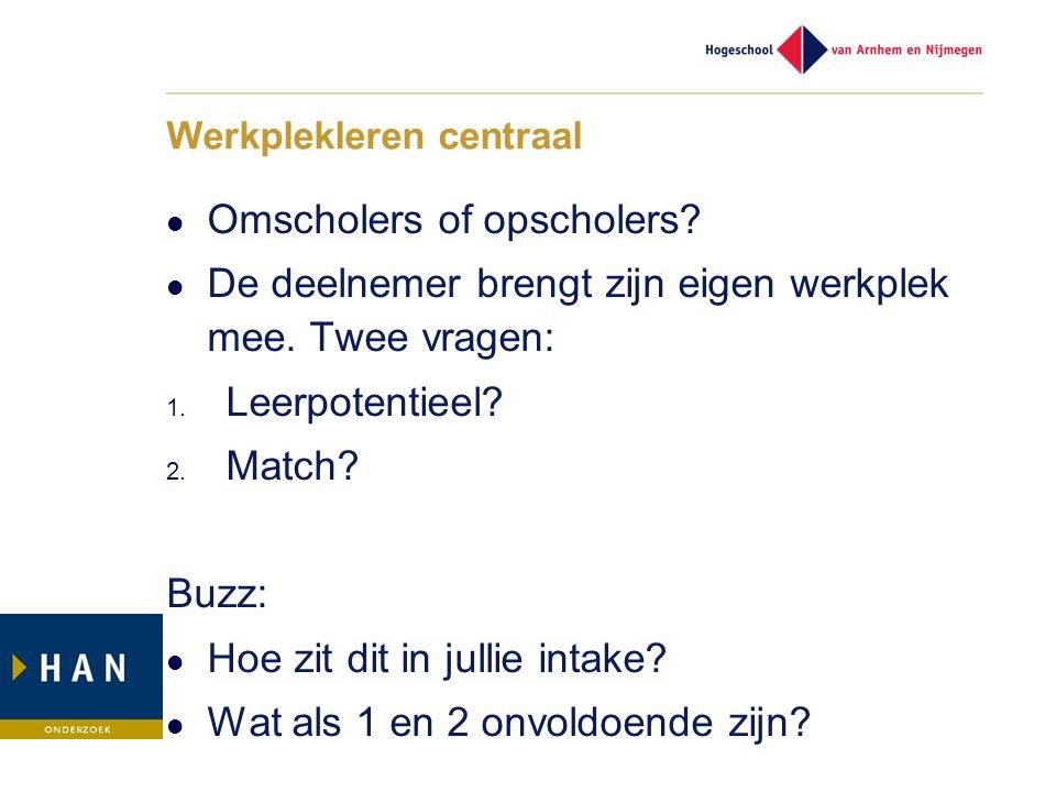 Werkplekleren centraal Omscholers of opscholers? De deelnemer brengt zijn eigen werkplek mee. Twee vragen: 1. Leerpotentieel? 2. Match? Buzz: Hoe zit