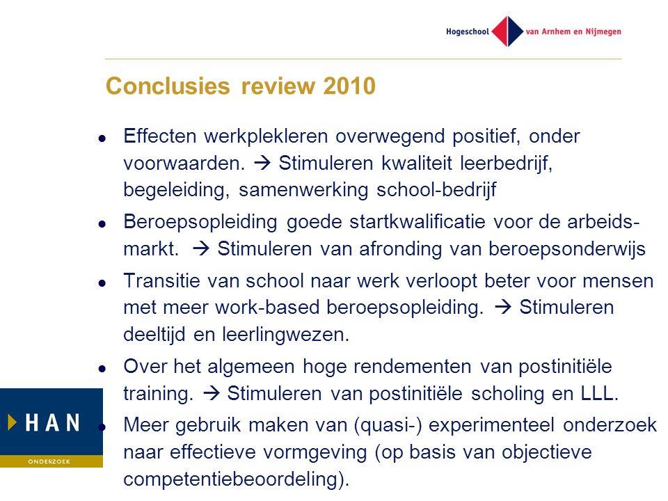 Conclusies review 2010 Effecten werkplekleren overwegend positief, onder voorwaarden.  Stimuleren kwaliteit leerbedrijf, begeleiding, samenwerking sc