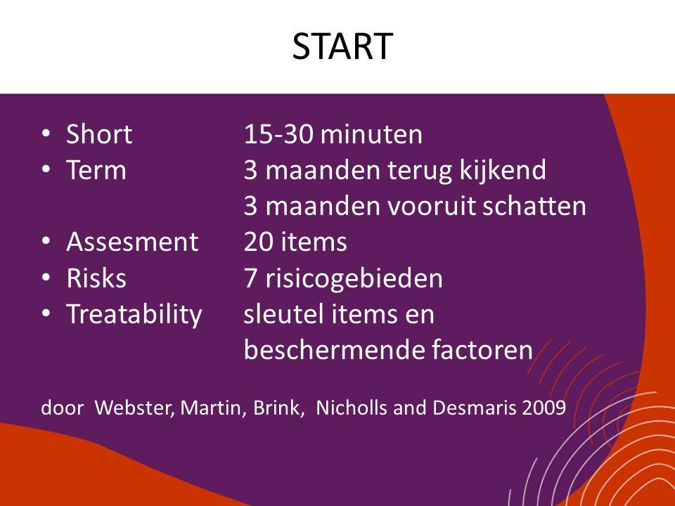 START Short15-30 minuten Term3 maanden terug kijkend 3 maanden vooruit schatten Assesment20 items Risks7 risicogebieden Treatabilitysleutel items en b