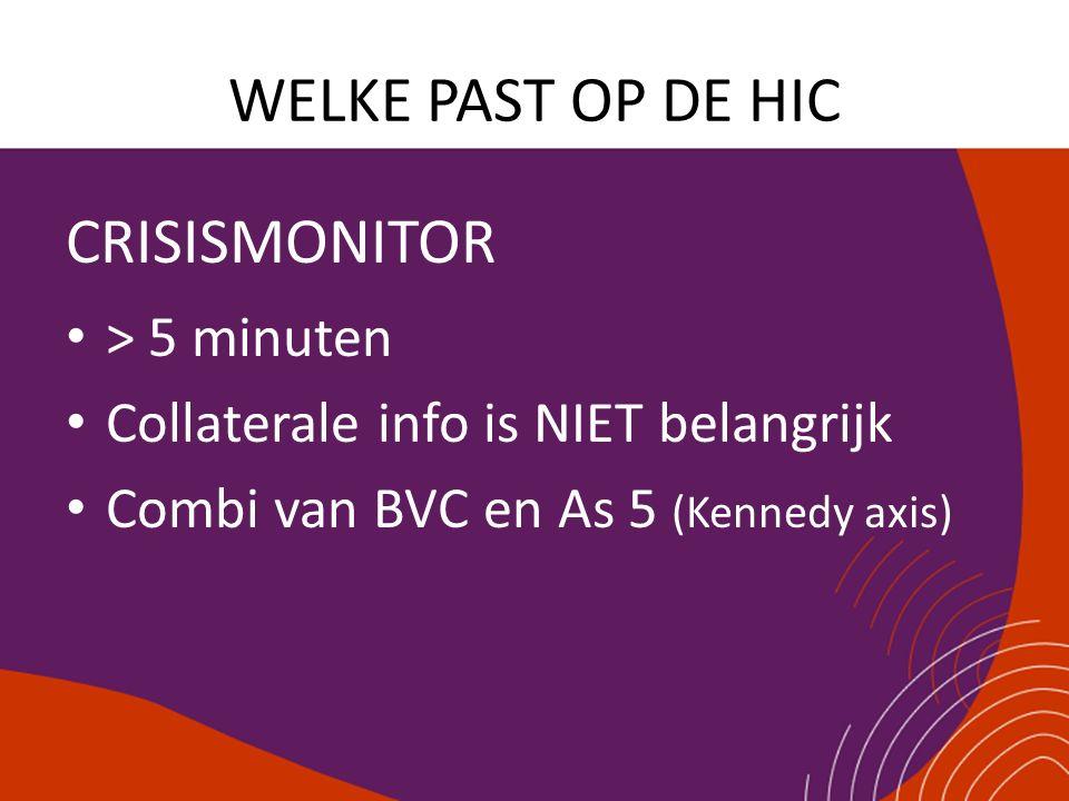 WELKE PAST OP DE HIC CRISISMONITOR > 5 minuten Collaterale info is NIET belangrijk Combi van BVC en As 5 (Kennedy axis)