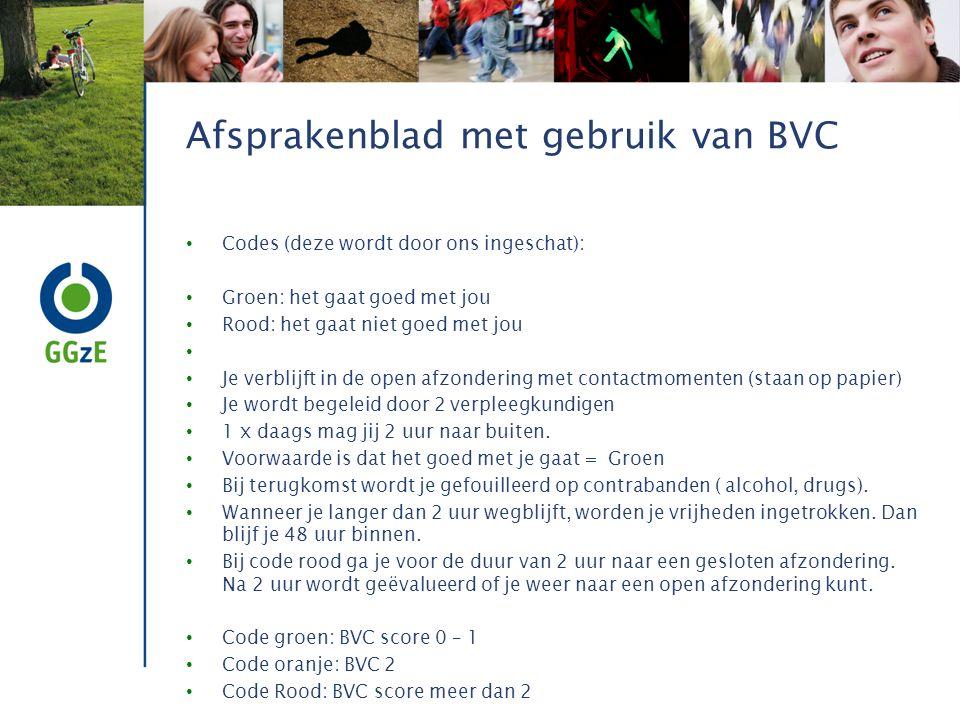 Afsprakenblad met gebruik van BVC Codes (deze wordt door ons ingeschat): Groen: het gaat goed met jou Rood: het gaat niet goed met jou Je verblijft in