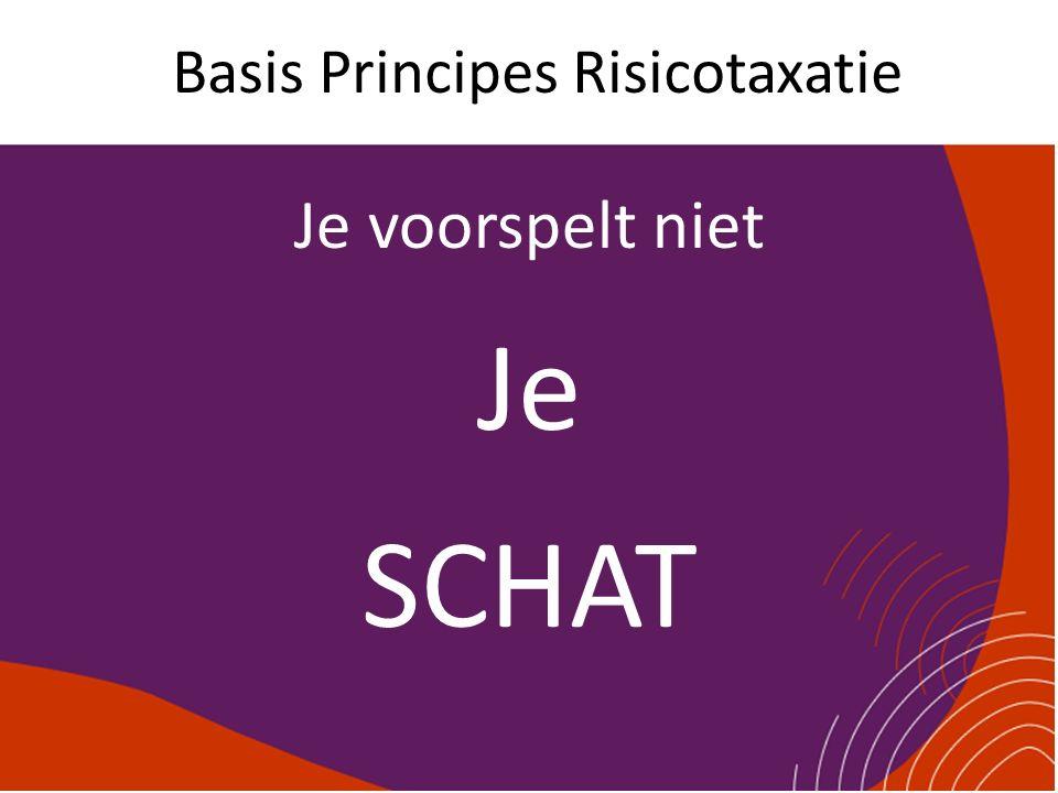 Basis Principes Risicotaxatie Je voorspelt niet Je SCHAT