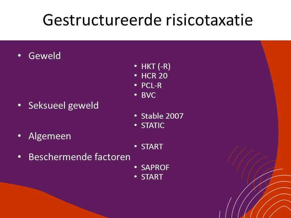 Gestructureerde risicotaxatie Geweld HKT (-R) HCR 20 PCL-R BVC Seksueel geweld Stable 2007 STATIC Algemeen START Beschermende factoren SAPROF START