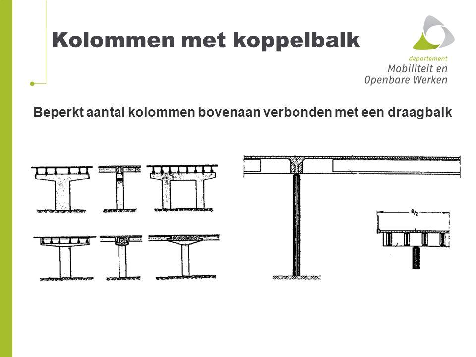 Beperkt aantal kolommen bovenaan verbonden met een draagbalk Kolommen met koppelbalk