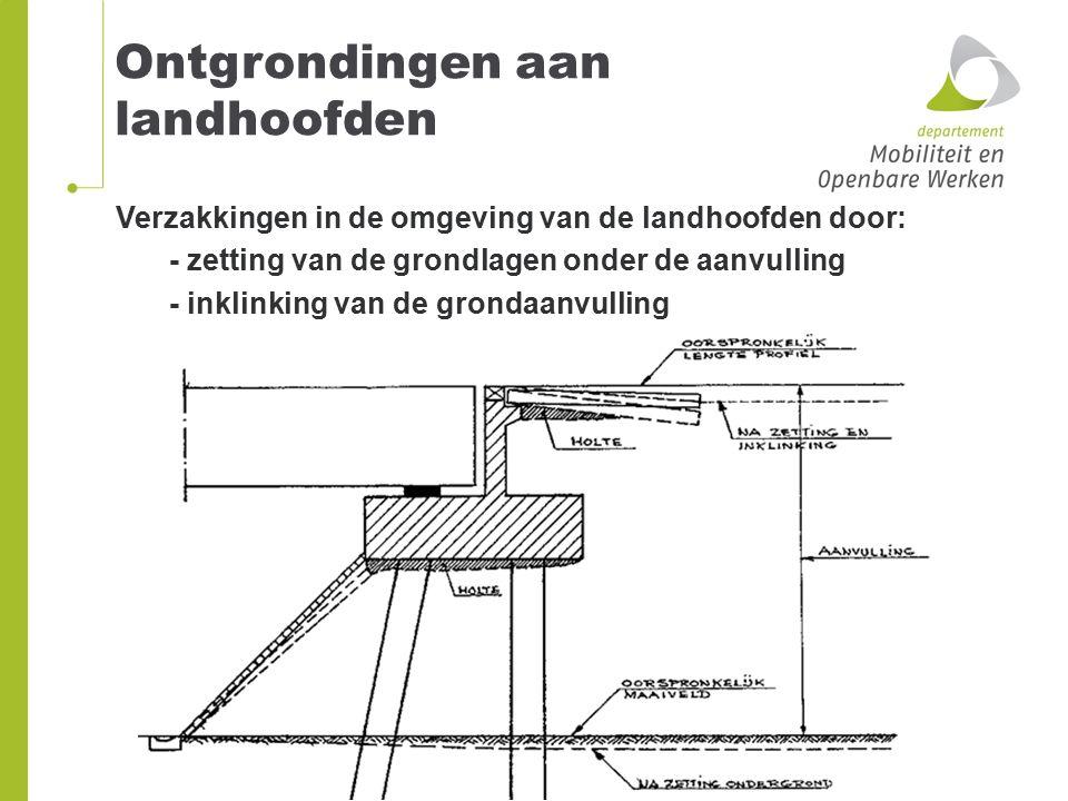 Verzakkingen in de omgeving van de landhoofden door: - zetting van de grondlagen onder de aanvulling - inklinking van de grondaanvulling Ontgrondingen