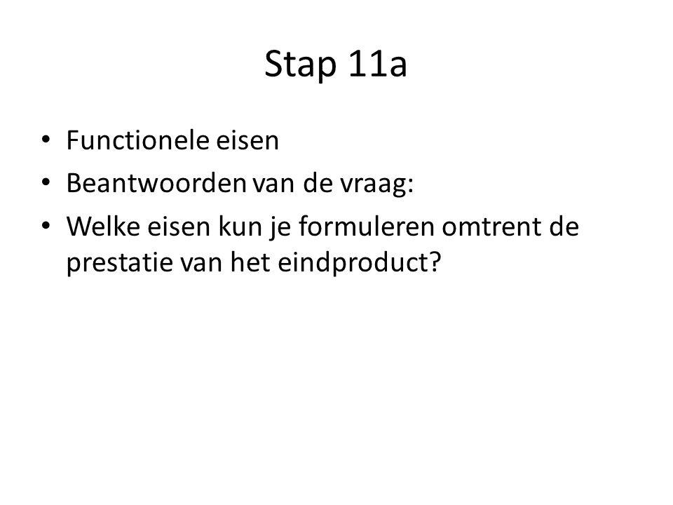 Stap 11a Functionele eisen Beantwoorden van de vraag: Welke eisen kun je formuleren omtrent de prestatie van het eindproduct
