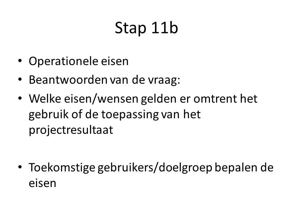 Stap 11b Operationele eisen Beantwoorden van de vraag: Welke eisen/wensen gelden er omtrent het gebruik of de toepassing van het projectresultaat Toekomstige gebruikers/doelgroep bepalen de eisen