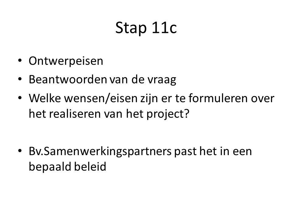 Stap 11c Ontwerpeisen Beantwoorden van de vraag Welke wensen/eisen zijn er te formuleren over het realiseren van het project? Bv.Samenwerkingspartners