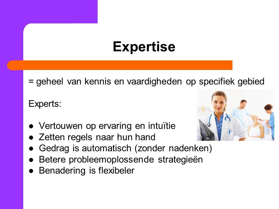 Expertise = geheel van kennis en vaardigheden op specifiek gebied Experts: Vertouwen op ervaring en intuïtie Zetten regels naar hun hand Gedrag is aut