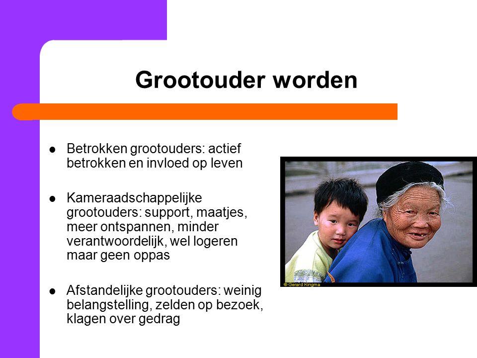 Grootouder worden Betrokken grootouders: actief betrokken en invloed op leven Kameraadschappelijke grootouders: support, maatjes, meer ontspannen, min