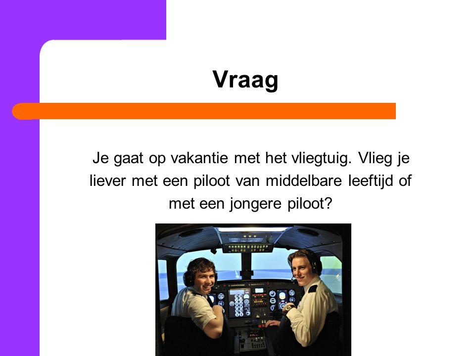 Vraag Je gaat op vakantie met het vliegtuig. Vlieg je liever met een piloot van middelbare leeftijd of met een jongere piloot?