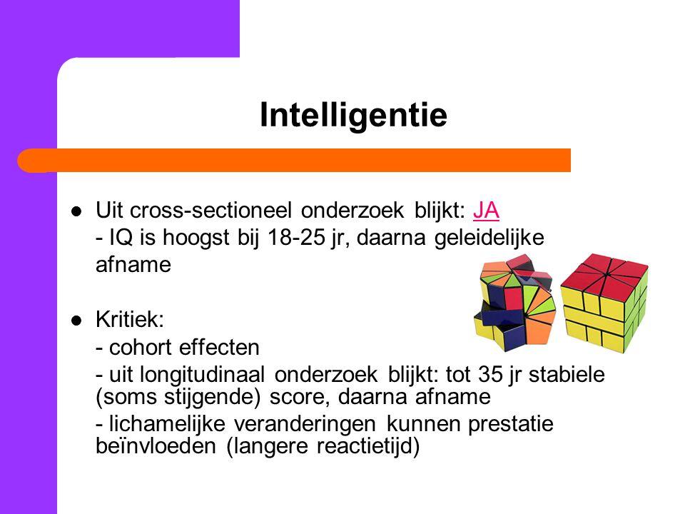 Intelligentie 2 soorten intelligentie Vloeibare intelligentie = vaardigheden op gebied van infoverwerking, redeneren en herinneren Gekristalliseerde intelligentie = geheel aan vaardigheden, informatie en strategieën die mensen zich via ervaring hebben eigen gemaakt en gebruiken bij problemen oplossen Neemt intelligentie af naarmate we ouder worden.